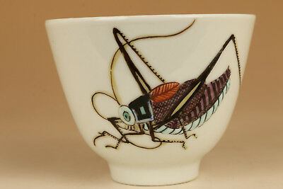 ancient rare old porcelain hand painting qianlong cricket bowl kungfu cup gift