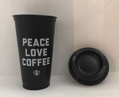 Starbucks PEACE LOVE COFFEE Cup Reusable Plastic 16 Ounce Tumbler Cup - New!