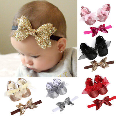 2PCS Baby Hairband + Shoes Casual Shoes Sneaker Anti-slip Soft Sole Infant Hot