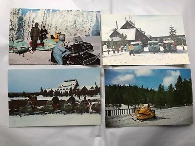 Lot Of 4 Vintage Yellowstone NP Snowmobile Snowmachine Postcard Old Faithful Inn