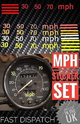 MPH stickers for  KPH speedo/speedometer bike car truck safe speed markers fluro