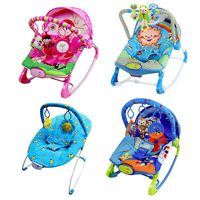 Baby Rocker Bouncer Reclining Chair Soothing Music Vibration Toys - 4 Designs