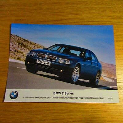 "BMW E65 7 Series UK English 8"" x 6"" Brochure Colour Press Photo Photograph 2002"