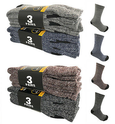 6 Pairs Men Winter Warm Thermal Crew Thick Socks Heavy Duty Work Boot Socks