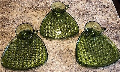6 pc Indiana Glass Green Triangle GLASS DAISY AND BUTTON Snack Tray Plates Sets