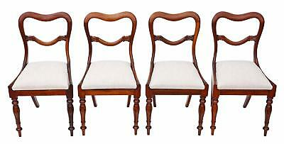 Antique quality set of 4 William IV rosewood balloon back dining chairs