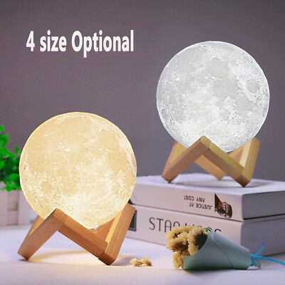 3D Printing Moon Night Lights Dimmable Touch Control Brightness Home Decor Lamps
