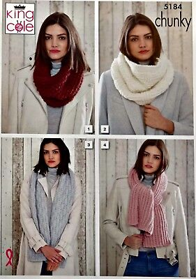 KNITTING PATTERN Ladies Textured Scarves and Cowls Chunky King Cole 5184