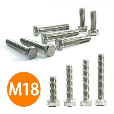 35-100mm Metric M18 Hexagon Head Bolts Hex Screw FULLY THREAD A2 STAINLESS STEEL