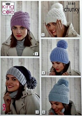 KNITTING PATTERN Ladies Hat Snood Cowl /& Fingerless Mitts Chunky King Cole 5191