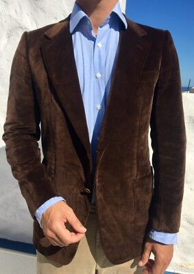 """BRIONI Blazer BROWN VELVET SIZE 38"""" 100% COTTON Made in Italy RRP £1,850"""