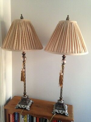 Very Tall Pair of Bronzed Metal Table Console Lamps & Shades Antique Style 33.5""
