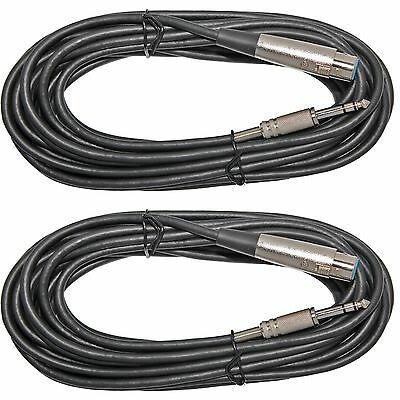 2 Pack 25 ft 3pin XLR Female to 1/4 TRS BALANCED Shielded Microphone Mic Cable