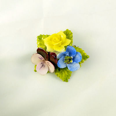 Cute English Bone China Floral Brooch Made in England Hand Painted Brooch Pin