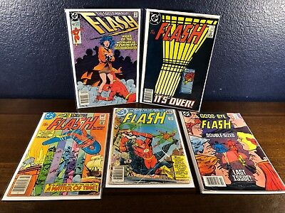 5 DC Comic Lot THE FLASH #s 42, 268, 311, 349 & 350 (Last Issue of Series)