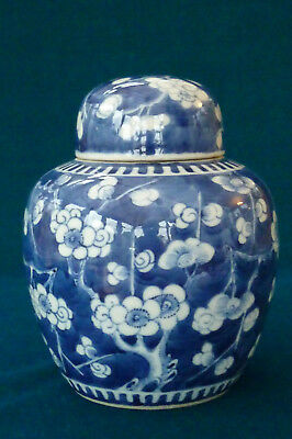 Early Chinese 4 Character Mark Blue & White Prunus Ginger Jar Vase Label to Lid