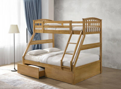 Fairy Oak Solid Wooden Triple Sleeper Bunk Bed With 2 Storage Drawers