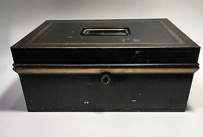 ANTIQUE BLACK METAL BOX Gold Trim Deed Document Container Old Tin