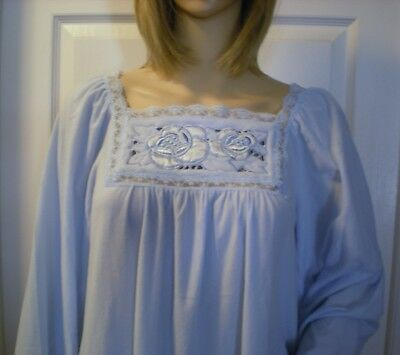 Val Mode Vintage NOS Nightgown Powder Blue Brushed Nylon Pretty Vintage Gown S