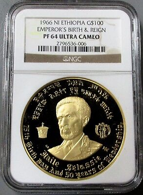 """1966 Gold Ethiopia $100 """"haile Selassie The First"""" Ngc Proof 64 Ultra Cameo"""