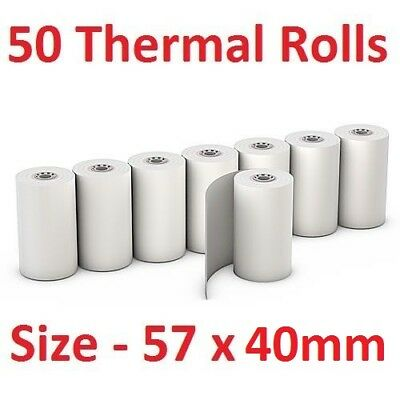 50 Bulk Thermal Rolls EFTPOS Receipt Paper Docket Cash Register Small 57 x 40mm