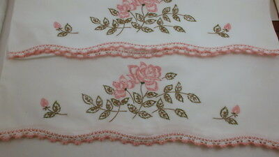 Vintage Pillowcase Pair, White Cotton with Crochet Edge, Pink Rose Embroidery