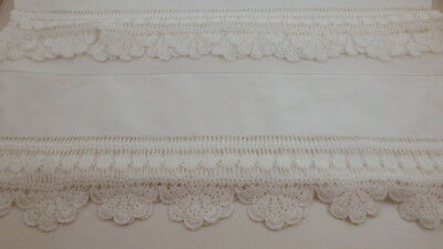 Vintage Pillowcase Pair, White Cotton with Wide Crochet Lace Edge, Front n Back