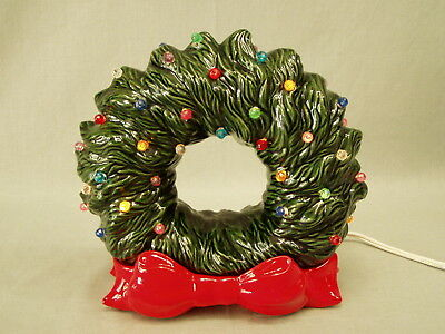 """Vintage Light-up Christmas Wreath ceramic pottery Tampa Bay Mold Co 8"""" t Red Bow"""