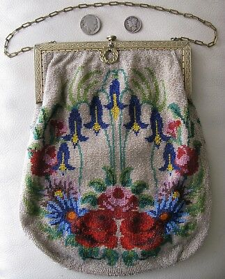 Antique Victorian Gold Frame Crochet Floral Cobalt French Micro Bead Multi Purse