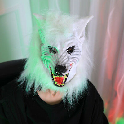 Wolf Haunting Latex Head Scary Mask Full Face Cosplay Animals Party Fantasy