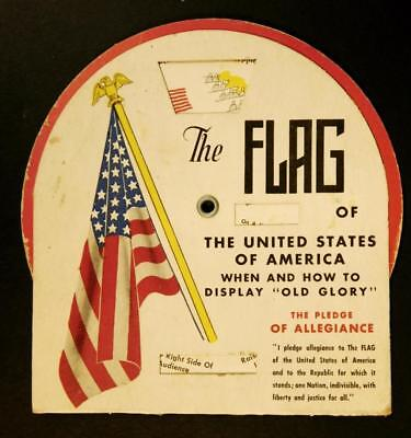 """1945 US Flag """"When & How to Display Old Glory"""" Slide Chart Tip Top Bread Bk-AD"""