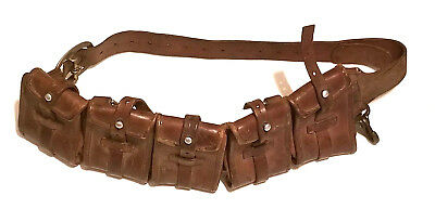 WWI Swiss Mauser Leather Canvas 5 Pouch  Ammo Belt Bandolier /Star Wars Style