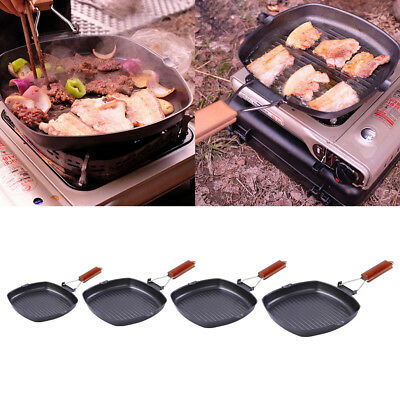 Non Sticky Iron Steak Frying Pan Folding Portable Square Grill Pan