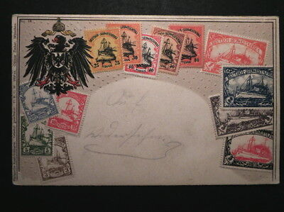 Old Embossed Postcard Shows Stamps of German South West Africa