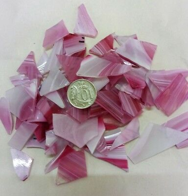 Leadlight glass offcuts for mosaic or glass crafts-spectrum pink baroque 200g