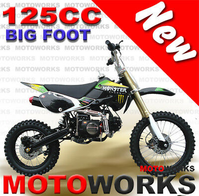 MOTOWORKS 125cc BIGFOOT DIRT TRAIL PIT MOTOR 2 WHEELS PRO BIKE Kick start black