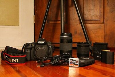Canon EOS 7D Mark II Digital SLR Camera WITH Lenses and Tripod