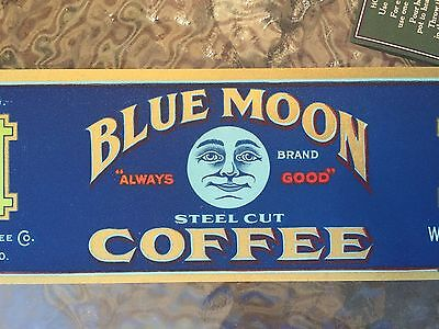 VINTAGE BLUE MOON COFFEE CAN LABEL ST LOUIS  1920s NOS GREAT GRAPHICS AND COLOR