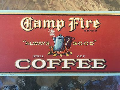Vintage Camp Fire Coffee Can Label St Louis Missouri 1920S Always Good! Nos