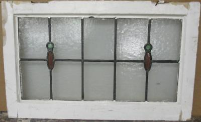 """OLD ENGLISH LEADED STAINED GLASS WINDOW TRANSOM Pretty Simple Drops 29"""" x 18.25"""""""