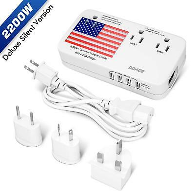 2000W Travel Voltage Converter Plug Adapter Down 220V 110V 4-Port USB Wordwide