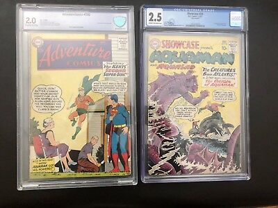 Action Comics 260 & Showcase 30, Origin & First Silver Age Aquaman, CGC, CBCS