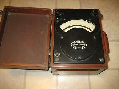 Vintage Weston 339 Type 2 Analog Frequency Meter with Wooden Enclosure