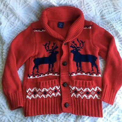 baby gap toddler boys red reindeer holiday christmas sweater nordic 5 button