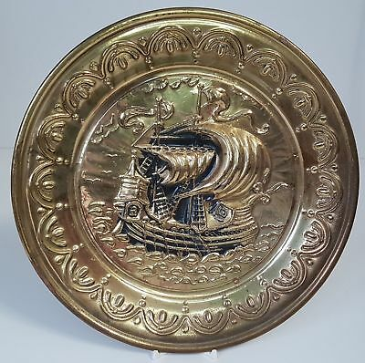 Vintage Chimney Flue Cover Brass Wall Hanging Plaque Tall Ship Sailing 9.75""