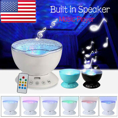 Ocean Wave Projector LED Night Light Music Sleep Remote 7 Flash Lamp Xmas Gifts