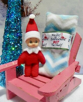 """ELFKIN"" Toddle Tot, little BOY Shelf sitting Elf, red bodied Christmas doll ."