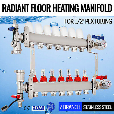 "7 Branch/Loop 1/2"" Pex Radiant Floor Heating Manifold Set Resistant Stainless"