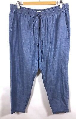 2fc80f2fd34 J. Crew Factory Pants 14 Jogger Chambray Cotton Drawstring Waist Pull On  C2363