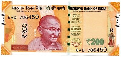 INDIA 200 Rupees 2017 P NEW UNC Banknote 786 Holy Number